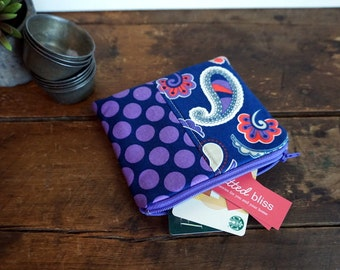 Zipper Bag - Small Coin Purse, Credit Card or Gift Card Holder, Purple, Navy and Grey Paisley and Dots