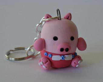 Pink Pig Keychain with personality - OOAK