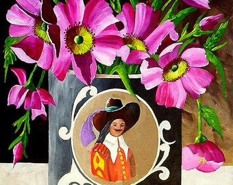 Original Acrylic Painting Still Life, Coffee Tin Flower Painting, Wall Art by Michael Hutton 11 by 14