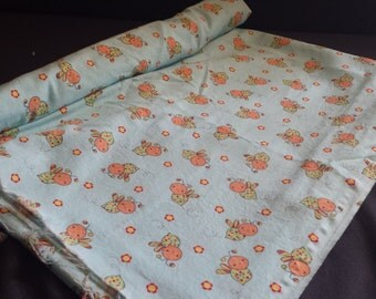 """Cute Colorful Bumblebees & Flowers Fabric Remnant, 2yd x 44"""" W"""