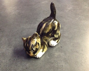 Cute Playful Cat Figurine Gray Brown Black Stripes White Paws Yellow Eyes Pink Nose