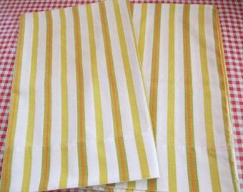 Vintage Pillowcases, Striped Pillowcases, Sears Linens, Yellow, Green, Orange Stripes