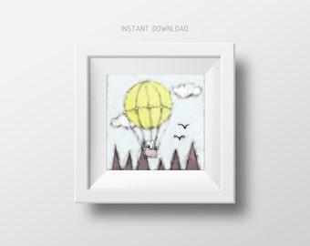 Nursery art prints, Printable nursery wall decor, Nursery illustration wall art, Bunny illustration, Hot air balloon illustration print