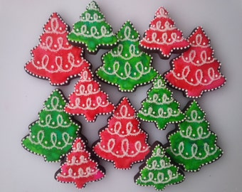 Watercolor Christmas Tree Cookies - One Dozen Decorated Christmas / Holiday Cookies