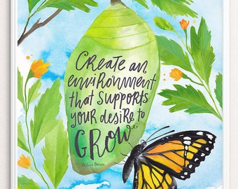Inspirational Print, DIY Dorm Decor Instant Download Art, Inspiring Print, Butterfly Cocoon Art, Inspiring Wall Art, Inspirational Quote