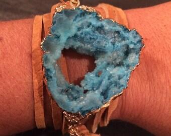 Druzy Suede Wrap Bracelet