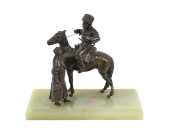 Circa 1920's Bronze Peasant Girl Providing Water to Cossack Soldier
