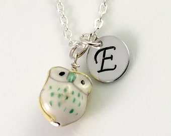 Personalized owl Necklace, Initial necklace, personalized ceramic 3D owl jewelry, Lovely ceramic owl miniature pendant