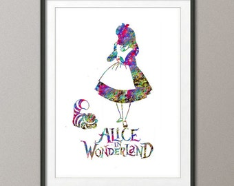 Digital Download,Alice in Wonderland Watercolor Print Nursery Children's Wall Art Wall Decor Art Home Decor Wall Hanging