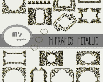 Heart Frames Labels Gold Enamel Damask Overlay. Transparent, to use with favourite background. Everyday is Valentine!