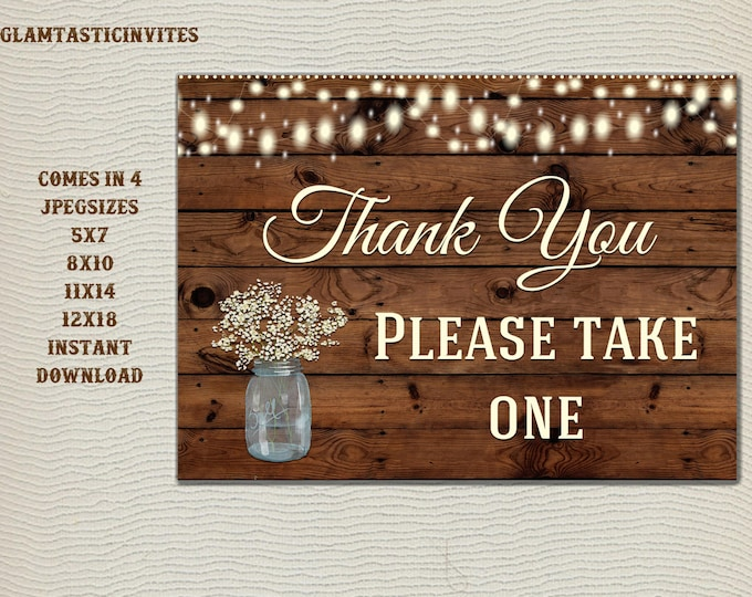 Rustic Favors Sign, Wedding Favors Sign, Baby Shower Favors Sign, Bridal Shower Favors Sign, Wedding Table sign, Mason Jar, Rustic Sign