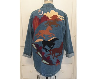 Denim Oversized Blazer with Multicolored Suede Applique // SUNDANCE made in USA