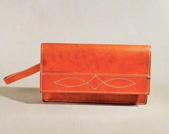 Vintage Cognac Colored Leather Wallet, Wrist Purse