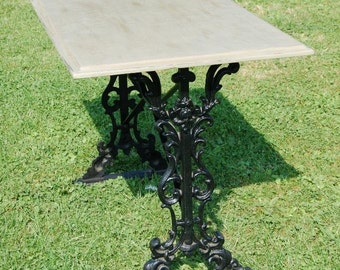Wrought Iron Table - Distressed Antique Waxed Shabby Chic Table Top