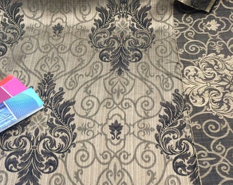 Mocha Damask Excellent for Drapery reversible 56 inches wide Fabric  By the yard