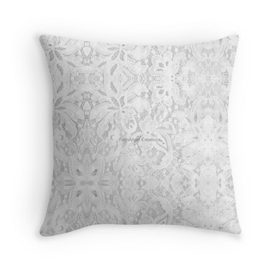 White Lace Throw Pillow Pillow Case & Insert Multiple Sizes