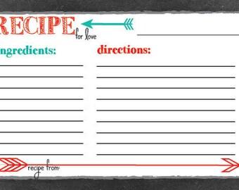 Printable Recipe Card - Red