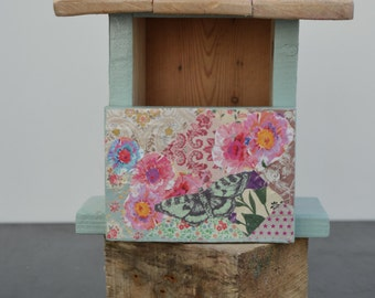 Reclaimed Handmade Painted Decoupage Wooden Robins Nest Birdhouse