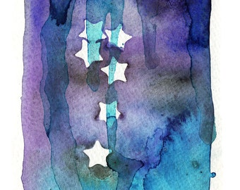 """Riah, Stars, Watercolor, Expressionism, Abstract, Contemporary -""""Slipping Dream"""""""