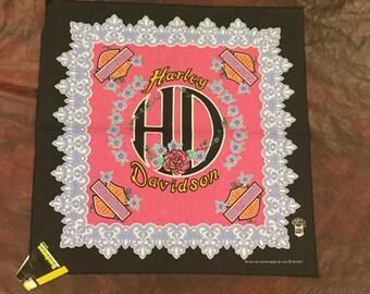 Vintage Harley Davidson Pink Ladies Bandana 1980's w/ Original Tag