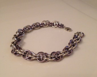 Two Tone Silver Chainmaille Bracelet