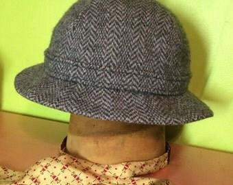 1980's Kangol Wool herringbone Grouser hat.