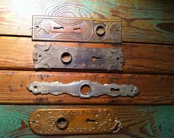 4 antique door plates
