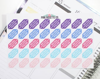 Bill Due Planner Sticker for Erin Condren Life Planner (Matte or Glossy)  029