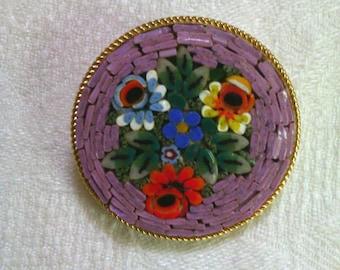 Vintage Italian  Mosaic  brooch