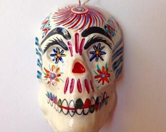 Vintage Ceramic Sugar Skull Wall Art