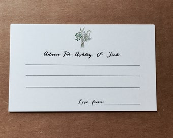 Set 25 Personalized advice card - Herbal Advice card - Wedding advice - Baby shower advice - Green Wedding - Guestbook - Rosemary wedding