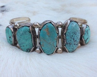 Vintage Native American Turquoise Cuff Bracelet SIGNED Lee Bennett Sterling Silver Navajo Pawn