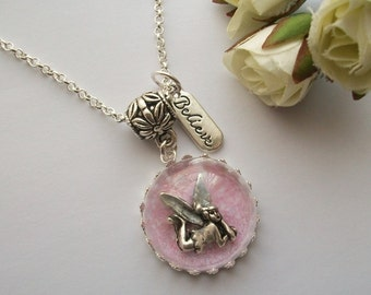 I Believe in Fairies - Necklace with fairy under a glass dome, globe, orb