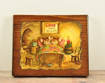Vintage Mice Wooden Wall Plaque-Adorable Mice Plaque-Love Lights The World-Mouse Plaque-Sleeping Mice Plaque