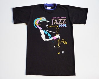 Vintage 80's Music Tee-Shirt Saxophone Player New Orleans Jazz Festival 1991