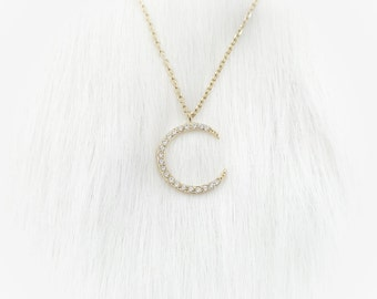 Midnight Moon Necklace - Gold