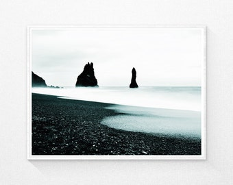 Digital Photography, Sea Photography, Ocean Beach Wall Art, Black and White Photos, Coastal Ocean, Beach Wall Decor, Modern Photography