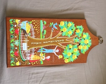Vintage Happines Tree Cutting Board Shape Wall Hanging Decoration