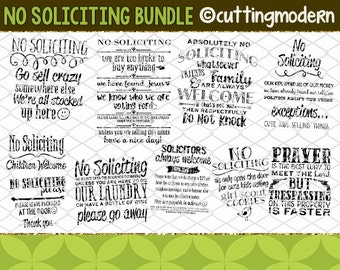 SVG Cut File Bundle - PNG Included - 10 Files- No Soliciting Bundle - Vinyl- Cricut- Silhouette Cameo- Diy projects-