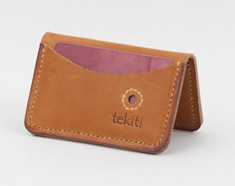 Hand made light orange Horween leather Wallet. Bi-fold minimalist. 4 pockets. men's wallet, women's wallet