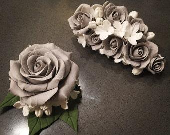 Handmade 2 accessories set (barrette & brooch)