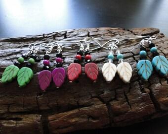 Clay, handpainted leaf earrings!