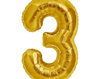 "JUMBO Number 3 balloon. 34"". Third birthday number balloon. Gold number three balloons. Big number balloons. Large gold number 3 balloon"