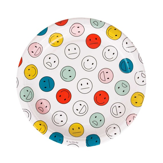 White Emoji Party Plates - happy and so-so face