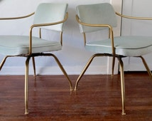 Pair of Stunning Mid-Century Modern 1940's Lounge Chairs by Baumritter - Refinished in Brass & Mint Green Mohair!