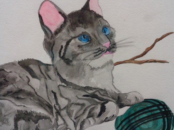 watercolor-- Cat with Yarn--  watercolor painting