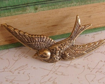 Bird Brooch, Antiqued Brass Swallow or Sparrow brooch or Pin