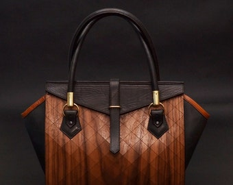 Wood and leather evening handbag, bag FIRST. Fashion luxuary bag