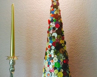 Cottage Chic Christmas Tabletop Cone Shaped Tree, Button Decorated Tabletop Christmas Tree, Hostess Gift, Apartment or Dorm Size Tree