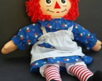 """Vintage Raggedy Ann Doll, 1987 Raggedy Ann, Playskool Raggedy Ann Cloth 18"""" tall"""